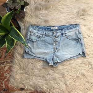 Free People Distressed Button Fly Denim Shorts